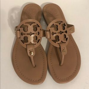 Tory Burch Miller Logo Leather Sandals Makeup 4.5